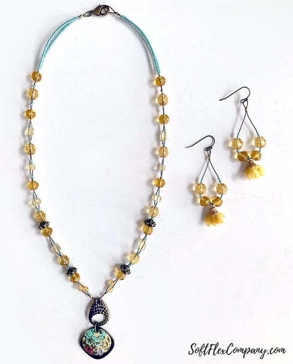 Antique Brass Beaded Pendant Necklace & Earrings by Kristen Fagan