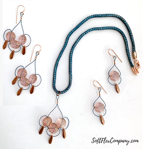 Modern Chandelier Style Pendant Necklace and Earrings by Kristen Fagan