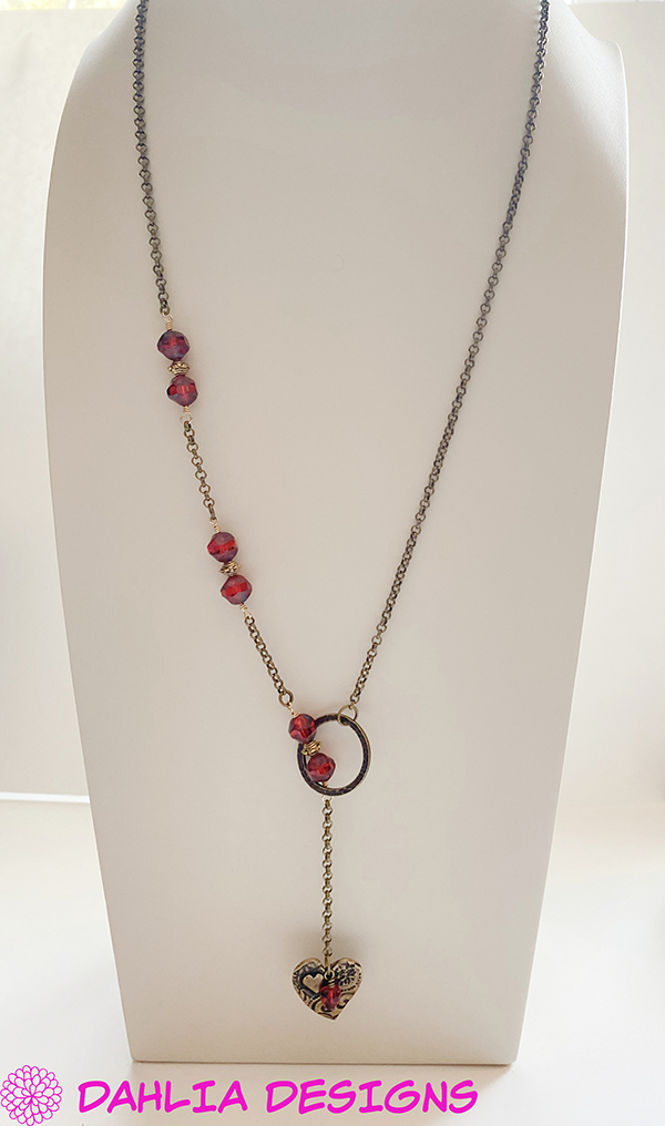 Brass Heart Assymetrical Necklace by Deb Houck