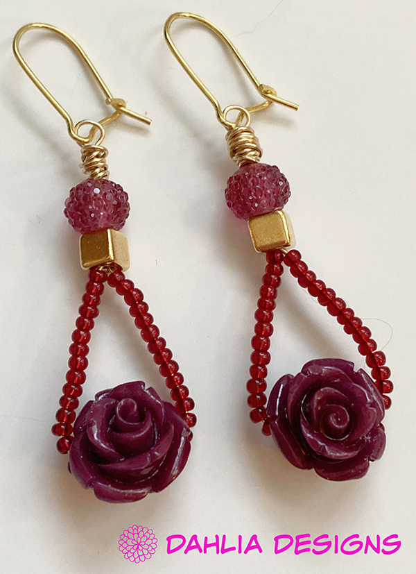 Cranberry Roses & Seed Bead Earrings by Deb Houck