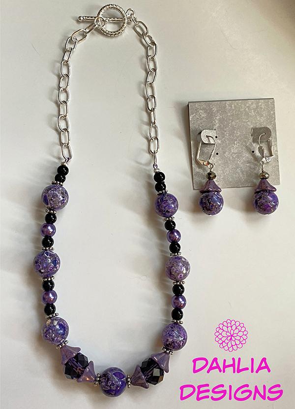 Purple Bell Flower Necklace & Earrings by Deb Houck