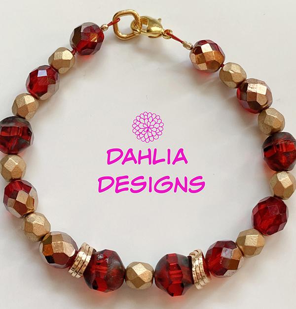 Red & Gold Bracelet by Deb Houck