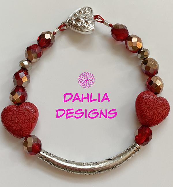 Red Heart Bracelet by Deb Houck