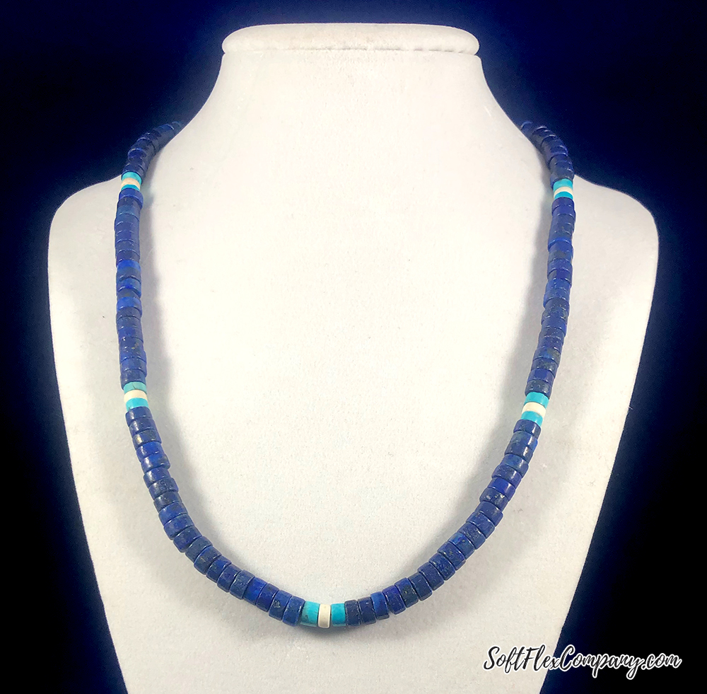 Men's Lapis, Turquoise and White Turquoise Necklace by Damien Shay
