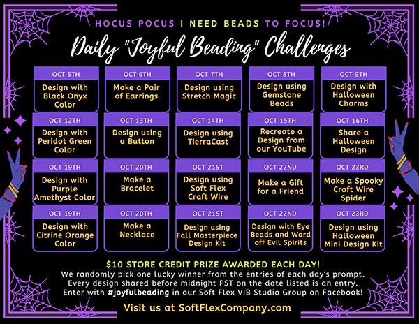 "Daily ""Joyful Beading"" Challenges Calendar for October 2020"