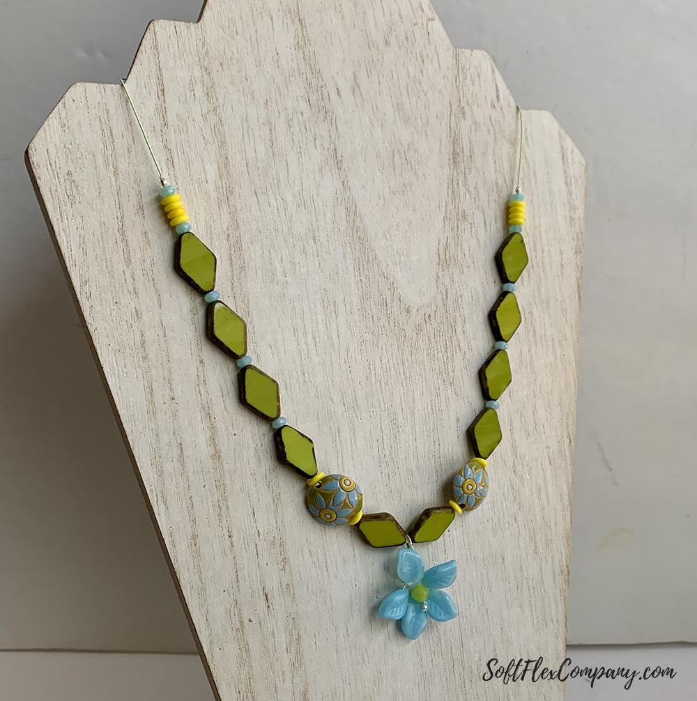 Czech Glass Flower Pendant Necklace by Kristen Fagan