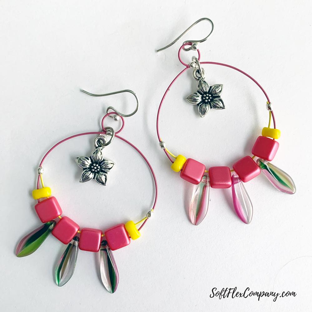 Spring Dagger Earrings with Flower Charm by Kristen Fagan