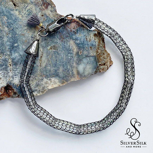 SilverSilk Hollow Mesh Stack Bracelets by Nealay Patel