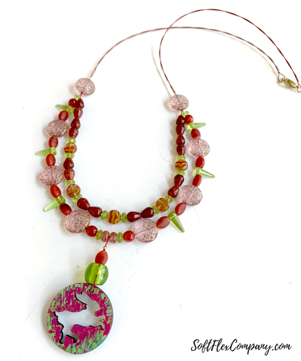 Hand Painted Wood Pendant and Soft Flex Beaded Necklace by Kristen Fagan