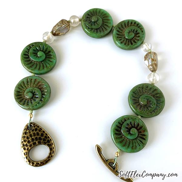 Jade Ammonite Czech Glass Spiral Bead Bracelet by Sara Oehler