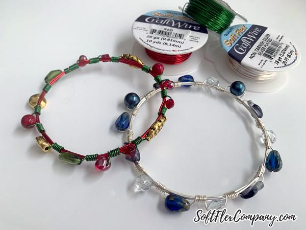Wire Wrapped Beaded Bangle Bracelet by Kristen Fagan
